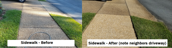 Sidewalk before and after